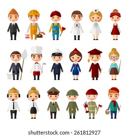 Set of people of different professions.