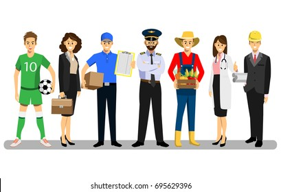 Set of people of different professions, career characters design, Labor Day, cartoon flat-style vector illustration.