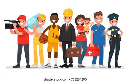 Set of people of different professions. Engineer, nanny, sportsman, cameraman, loader, ambulance, police woman. Vector illustration in a flat style