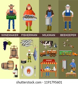 Set of people of different professions together with its products: winemaker, fisherman, milkman and beekeeper. Vector illustration isolated on white background
