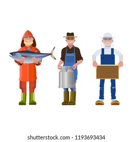 Set of people of different professions together with its products: fisherman, milkman and beekeeper. Vector illustration isolated on white background