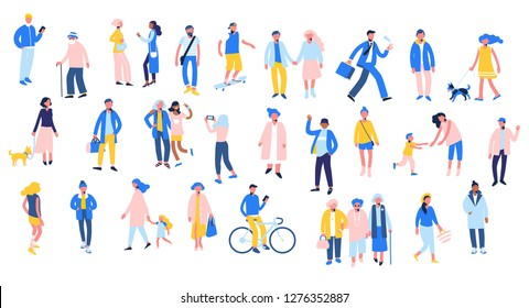 Set of people in different situations - walk, use smartphone, ride bike, relax. Group of male and female characters in flat style isolated on white background. Outdoor activity.