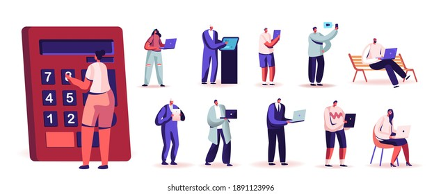 Set People with Digital Devices. Tiny Male and Female Characters Hold Huge Calculator, Laptop, Smartphone and Tablet Pc, Men Women Use Gadgets Isolated on White Background. Cartoon Vector Illustration