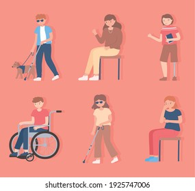 set of people disable, blind, walking and sitting characters vector cartoon illustration