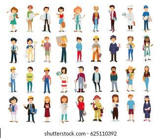 set people, doctor, policeman, fireman , engineer , foreman, boss, worker, painter, construction worker, longshoreman, farmer, carpenter, officer, tourist, graduate, cook, sportsman, teenager, student