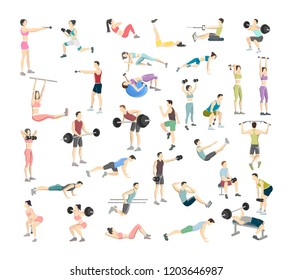 Set of people doing exercises in the gym. Fitness and healthy lifestyle. Workout with dumbbell, fitness ball and barbell for different groups of muscles. Men and women. Isolated vector illustration