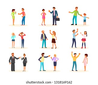 Set of people during disagreement or conflict. Men and women are fighting, brawling, bickering, quarreling, shouting at each other. Flat Art Vector illustration