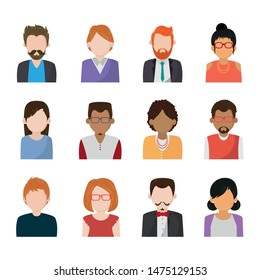 Set of people faceless characters icons ,vector illustration.