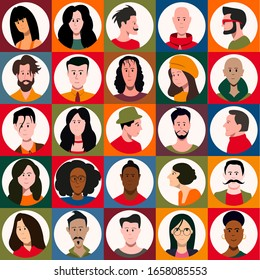Set of people faces, avatars of men and women. Flat vector icons.