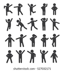 Set of people Figure Pictogram Icons. Isolated Stick Figures. Icons of people. Vector illustration. Poses of people.