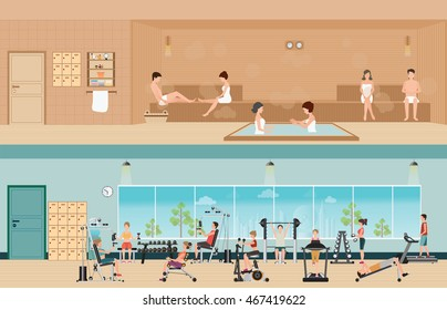 Set of people in fitness gym interior with equipment and sauna interior or steam room, charactors flat design Vector illustration.