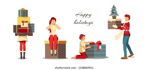 Set of people with gifts for Christmas, New Year, Winter holidays, celebrating. Vector illustrations for poster, banner, cover, card, postcard.