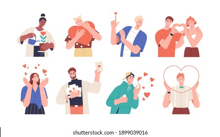 Set of people giving and sharing love, donating. Concept of assistance, care, philanthropy and support. Men and women holding hearts. Colored flat vector illustration isolated on white background