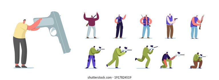 Set of People with Hand Gun. Male Female Characters Playing Paintball, Police Officer in Uniform and Hunter with Rifle, Criminal with Pistol Isolated on White Background. Cartoon Vector Illustration