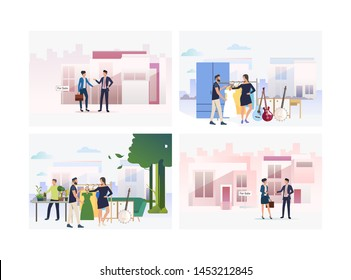 Set of people handling selling. Group of men and women selling clothes and musical instruments. Marketing concept. Vector illustration can be used for presentation slide, new project, commercial