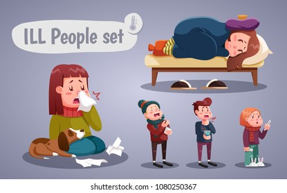 Set of people having cold, cartoon style vector illustration