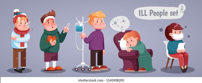 Set of people having cold, cartoon style vector illustration