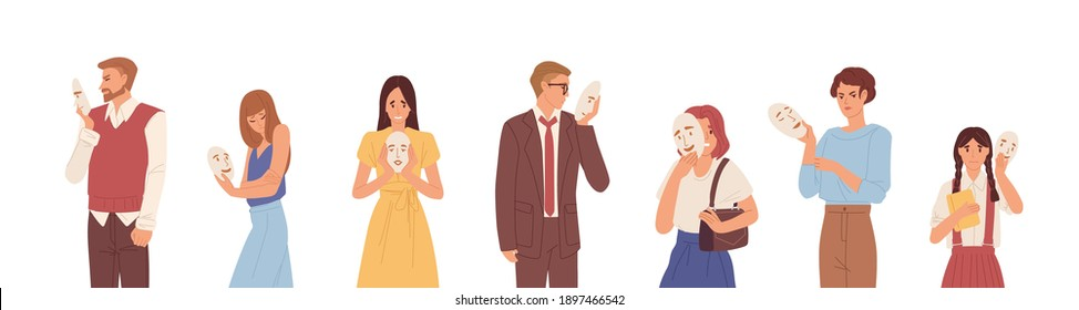 Set of people hiding faces behind social masks with fake positive emotions. Sad and angry men and women disguising real emotions and feelings. Colored flat vector illustration isolated on white