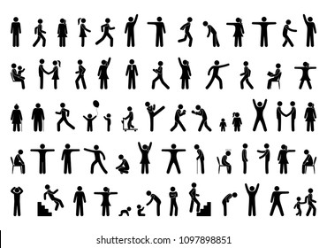Set people icon, action pictogram black, stick figure human silhouettes, various man postures and movements, vector symbols