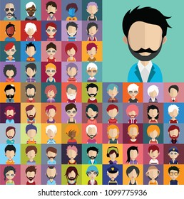 Set of people icons, avatars in flat style with faces. Vector women, men character