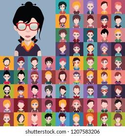 Set von Menschen Symbole, Avatare im flachen Stil mit Gesichtern. Vektorillustration Frauen, Männer Charakter