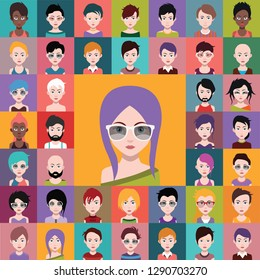 Set of people icons, avatars in flat style with faces. Vector women, men character 2