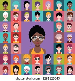 Set of people icons, avatars in flat style with faces. Vector women, men character 3