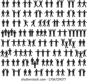 Set of people icons in black and white.