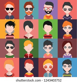 Set of people icons in flat style with faces. Vector women, men with color background