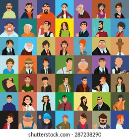 Set of people icons in flat style. The many faces of men, women and teens. vector illustration.