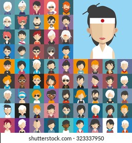 Set of people icons in flat style with faces. Vector women, men character Set 25 b