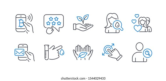 Set of People icons, such as Blood donation, Bitcoin pay, Helping hand, Moisturizing cream, Messenger mail, Fair trade, Ranking star, Touchscreen gesture, Couple, Find user line icons. Vector