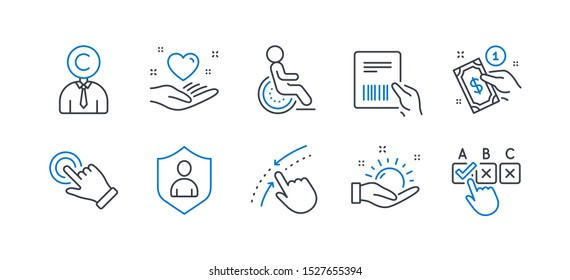 Set of People icons, such as Copyrighter, Payment method, Sunny weather, Touchscreen gesture, Parcel invoice, Disability, Swipe up, Security, Hold heart, Correct checkbox line icons. Vector