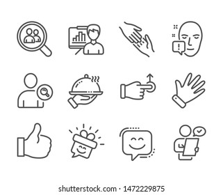Set of People icons, such as Customer survey, Presentation board, Face attention, Search employees, Smile face, Smile, Drag drop, Like, Hand, Find user, Restaurant food, Helping hand. Vector