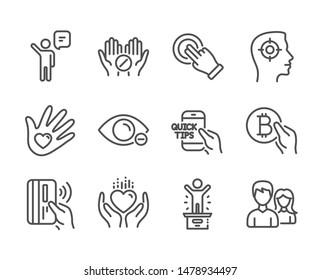 Set of People icons, such as Education, Winner podium, Touchscreen gesture, Medical tablet, Hold heart, Social responsibility, Myopia, Contactless payment, Agent, Bitcoin pay, Couple. Vector