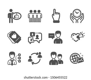 Set of People icons, such as Love ticket, Support chat, Friendship, Third party, Person talk, User communication, Love message, Couple, Click hand, Like, World mail, Safe time. Vector