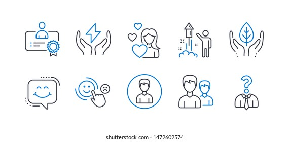 Set of People icons, such as Safe energy, Love, Customer satisfaction, Certificate, Couple, Person, Fireworks, Smile chat, Fair trade, Hiring employees line icons. Thunderbolt, Woman in love. Vector