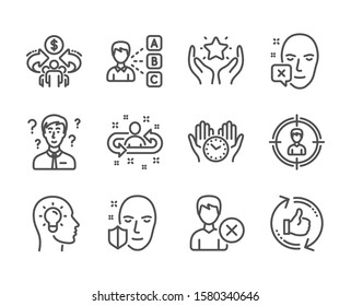 Set of People icons, such as Safe time, Sharing economy, Ranking, Face protection, Support consultant, Remove account, Headhunting, Recruitment, Face declined, Opinion, Refresh like. Vector