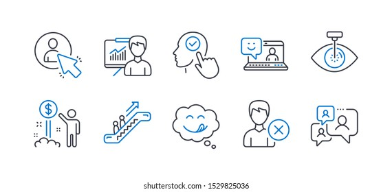 Set of People icons, such as Smile, Remove account, Yummy smile, User, Eye laser, Income money, Presentation, Escalator, Select user, Support chat line icons. Laptop feedback, Comic chat. Vector