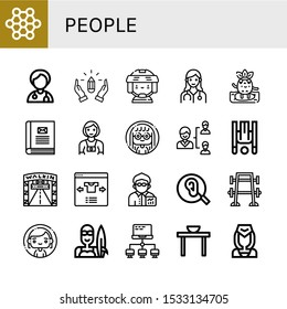 Set of people icons. Such as Structure, Doctor, Hands, Hockey player, Surfing, Contact book, Photographer, Woman, Network, Inversion therapy, Walking street, Select , people icons