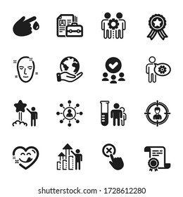 Set of People icons, such as Vacancy, Employees teamwork. Certificate, approved group, save planet. Health skin, Blood donation, Networking. Employee results, Reject click, Medical analyzes. Vector