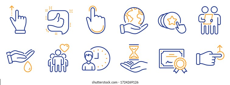 Set of People icons, such as Wash hands, Time hourglass. Certificate, save planet. Survey, Touchscreen gesture, Drag drop. Working hours, Like, Hand click. Friendship, Hold heart line icons. Vector