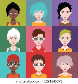 Set of people icons,avatars with faces 5