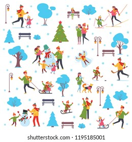 A set of people involved in the winter active lifestyle family. Vector illustration in simple style on white isolated background.