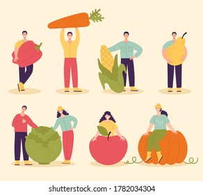 A set of people with large vegetables and fruits.Harvesting concept,vegetarianism,healthy food,farm products,vitamins.Fair with village products.Flat cartoon illustration isolated on light background
