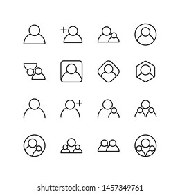 Set of people line icon design, black outline vector icons, isolated against the white background, avatar vector illustration.