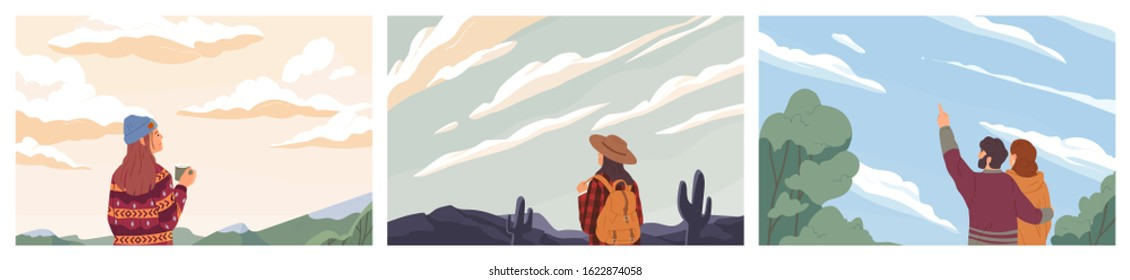 Set of people looking at sky colored vector illustration. Concept of opportunity observation, inspiration and romantic. Backpacker traveling cartoon composition