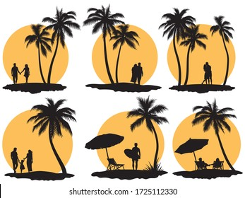 Set of people looking at sunset on the beach. Сollection of silhouettes of people holding hands against the backdrop of the sun. Summer romantic vacation. Vector illustration on a sunset background.