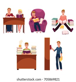 Set of people, man and woman reading books in library, studying, cartoon vector illustration isolated on white background. Cartoon set of young man and woman in library - reading and studying
