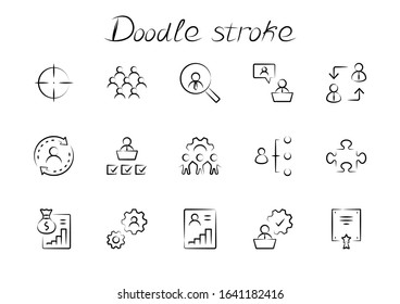 Set of People Management Related Vector Line Icons. Contains such Icons as Target, Puzzle, Certificate, Personal data processing, Task Manager, Qualification, Head Hunting and more. Editable Stroke - Shutterstock ID 1641182416